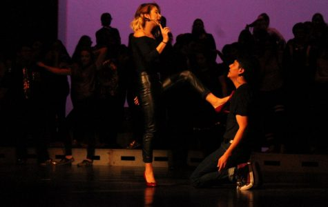 Seniors Casey Pena and Samuel Pequeno together in one of the duets of the show,