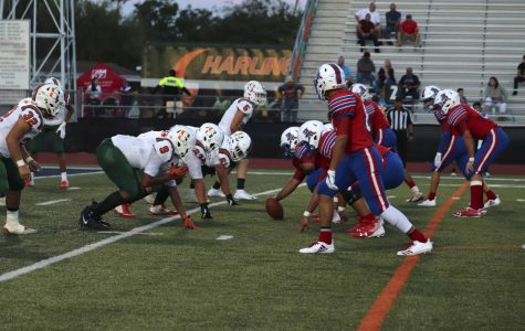 The Bobcat offense prepares for the play against the Harlingen South Hawks.