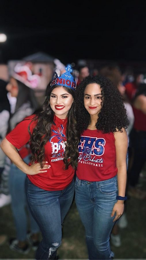 Seniors Bethany Garcia and Debanhi Garza stand together before the start of the traditional Senior Walk