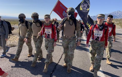JROTC members march at the Bataan Memorial Death March in White Sands New Mexico during Spring Break.
