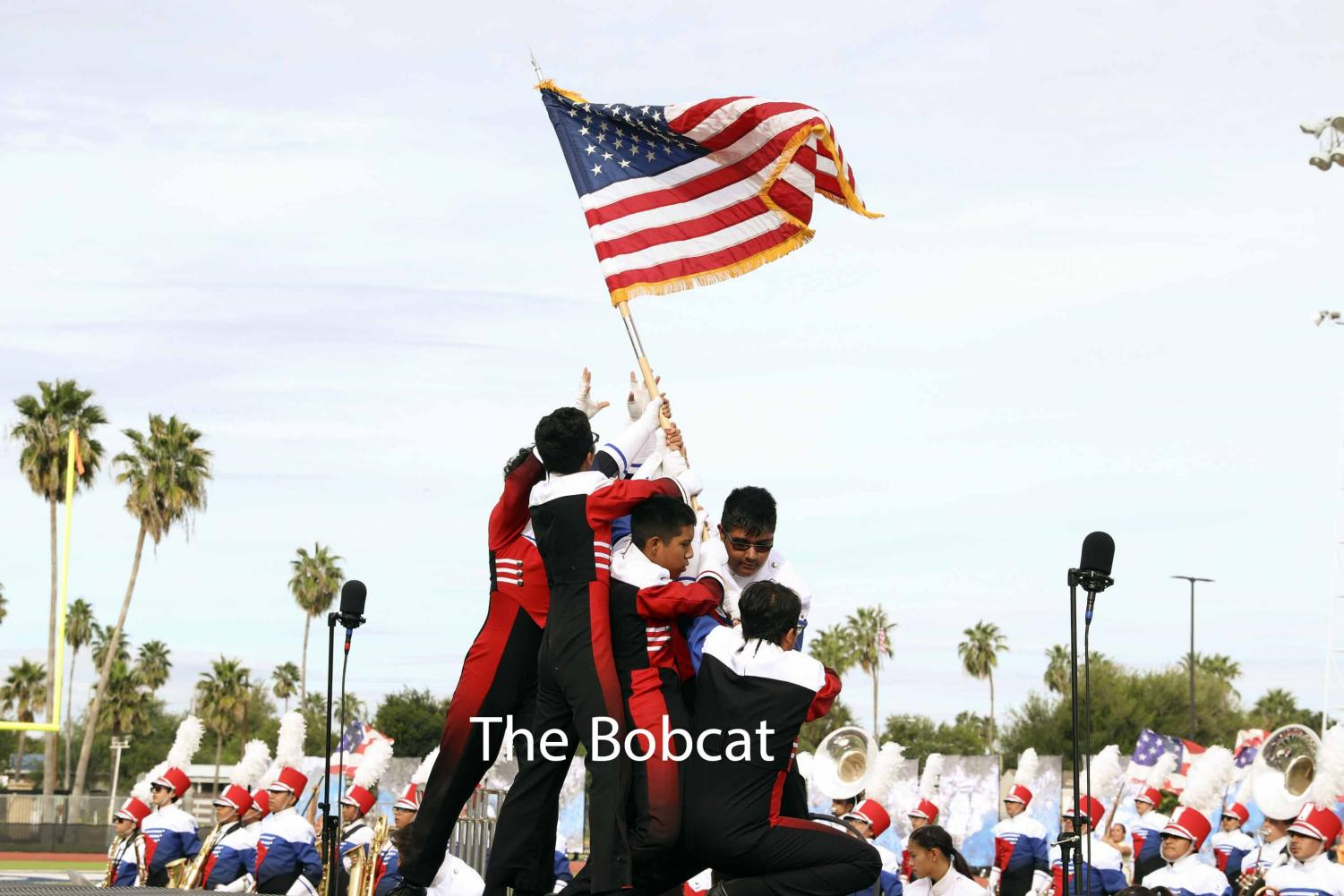 Band members 'Raise the Flag' during their Patriotic Showcase performance.