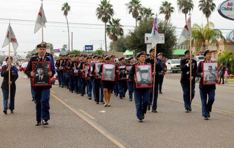 JROTC members honor alumni Veterans at Veteran's Day Parade