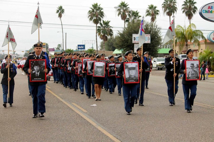 JROTC members honor alumni Veterans at Veteran's Day Parade