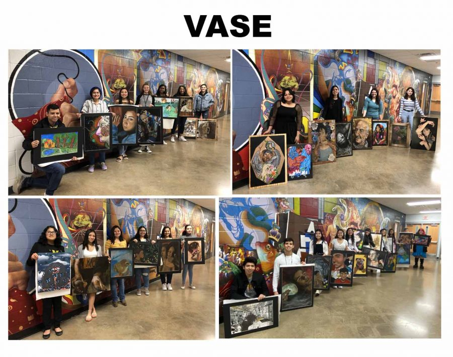 Art students with their pieces for the VASE competition.