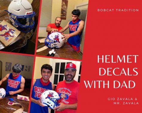 A Bobcat Family Tradition. Senior Gio Zavala and Mr. Zavala put the decals on his football helmet.
