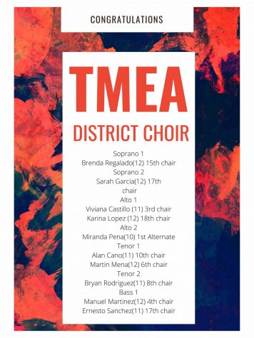 Choir students are selected for TMEA District Choir