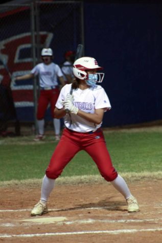 Sophomore Hailey Vega stands in the box waiting for the right pitch.