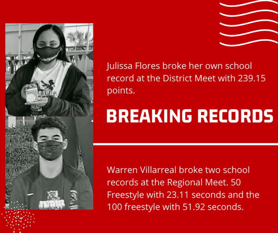 Swimmers, Julissa Flores and Warren Villarrreal break records.
