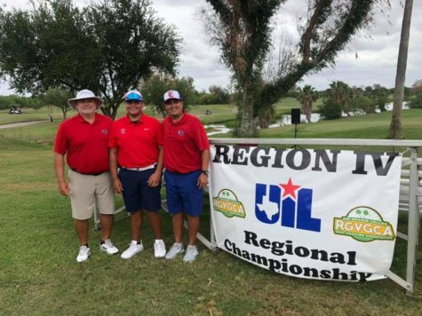 Coach O. Garza, Bryan Sandoval, and Coach L. Garza stand together at the Golf Regional tournament.